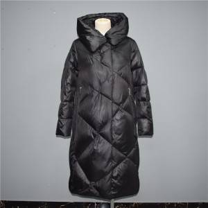 OEM manufacturer Windproof Cuffs - 2021 autumn and winter new style diamond over the knee hooded long down jacket, cotton jacket 022 – Qinghua Haichuang