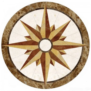 Low price for China Round Marble Water-Jet Medallion Tile with geometry Design