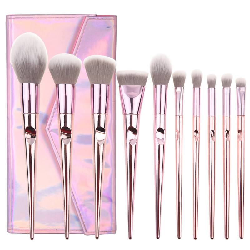 Factory wholesale Vegan Makeup Brushes - Wholesale Professional 10 pcs Rose Gold Plastic Plating Handle Blush Make Up Brushes Girls Daily Makeup Brush Set With Case – Muran Featured Image