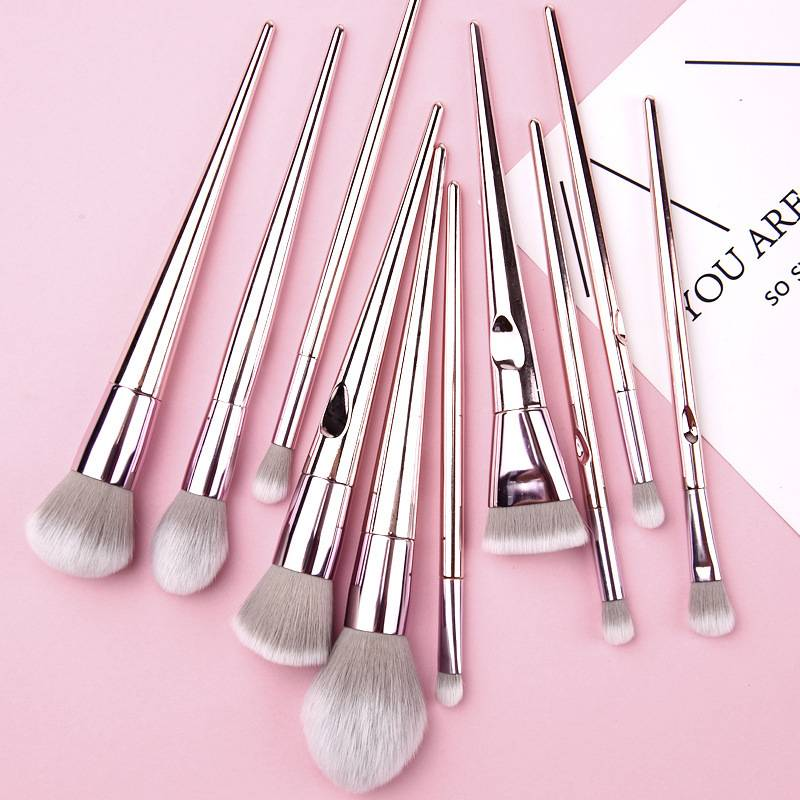 Factory wholesale Vegan Makeup Brushes - Wholesale Professional 10 pcs Rose Gold Plastic Plating Handle Blush Make Up Brushes Girls Daily Makeup Brush Set With Case – Muran
