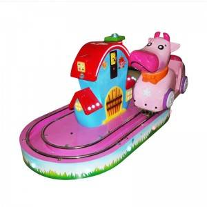 Amusement park coin operated kiddy ride little cow train game machine