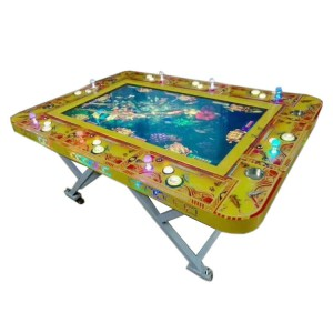 Folded fishing game machine for 6 player gambling game machine