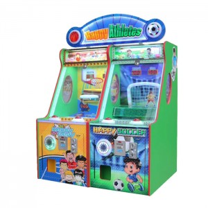 coin operated happy athletes soccer game machine shooting basketball game machine lottery game machine