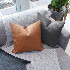 Modern light luxury minimalist woven PU leather sofa pillow case cushion cover
