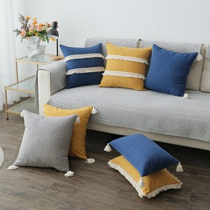 Wholesale Nordic cotton linen throw pillow cases cover decorative with tassel