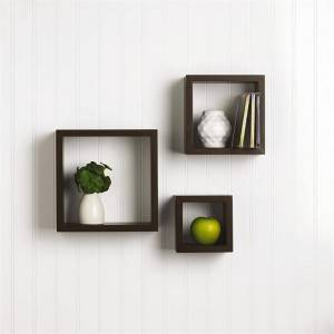 Floating mount Mounted Set of 3 Rustic Square Cube Wood Wall shelf Shelves for Living Room Bedroom Bathroom 3 Count