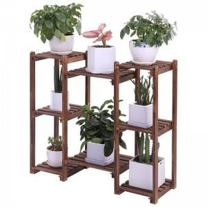 Pine Wooden Plant Stand Indoor Outdoor Multi Layer Flower Shelf Rack Holder in Garden  giardino scaffale piante