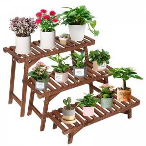Pine Wooden Plant Stand Indoor Outdoor Multi Layer Flower Shelf Rack Holder stand in Garden Balcony Patio Living room