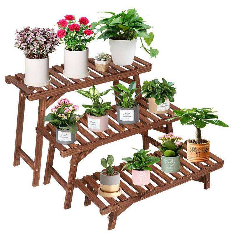 Professional China Metal Plant Stand - Pine Wooden Plant Stand Indoor Outdoor Multi Layer Flower Shelf Rack Holder stand in Garden Balcony Patio Living room – AJ UNION