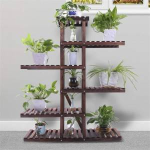 Pine Wood Plant Stand Indoor Outdoor Multi Layer Flower Shelf Rack Holder in Garden Balcony Patio Living room
