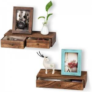 Floating mount Mounted Set Wood Wall shelf Shelves with Drawer for Living Room Bedroom Bathroom