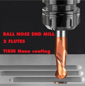 55 HRC TiSiN coat ball nose end mill 2 flutes