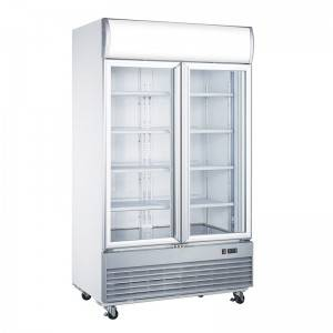 Commercial Upright Double Glass Door Freezer With Digital Temperature Display