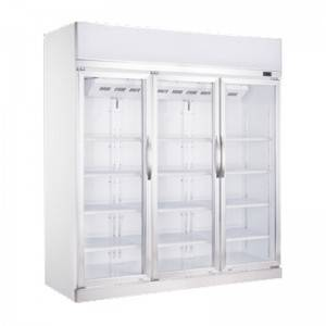 Commercial Vertical Triple Glass Door Display Freezer With Fan Cooling System