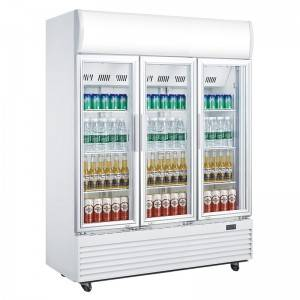 Commercial Upright Triple Glass Door Drinks Display Fridge With Fan Cooling System