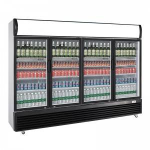 Commercial Upright Quad Door Display Refrigerator With Direct Cooling System