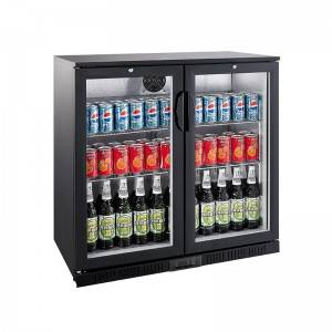 Commercial Double Glass Door Cold Drink And Beer Display Back Bar Cooler Fridge