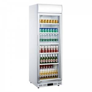 Commercial Upright Single Glass Door Beverage Display Cooler Refrigerator With Fan Cooling System