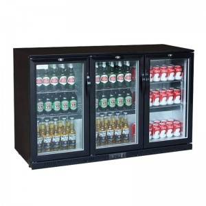 Under Counter Black 3 Glass Door Beverage & Beer Drinks Bottle Display Back Bar Cooler Fridge