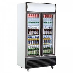 Upright Double Swing Glass Door Display Cooler Fridges With Fan Cooling System