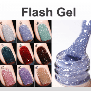 Flash gel /glitter gel polish super shinny under light new collection from manicure uv gel