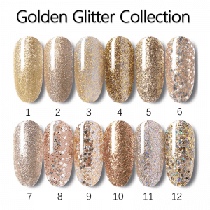 Golden Glitter /Platinum Gel Polish with Shinny shimmer bling bling nail art