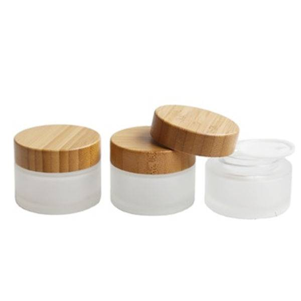 Custom made 50g frost cream jar with bamboo cap
