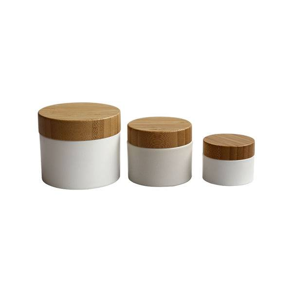 Skin care plastic PET cream jar with bamboo cap