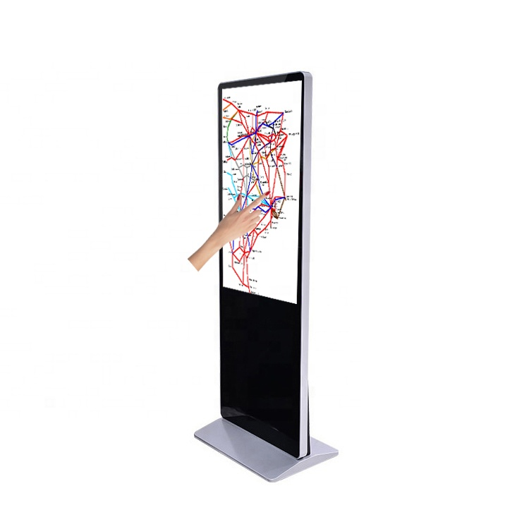 55 inch floor standee touch interactive led signage display, Support Android/Windows online content publishing