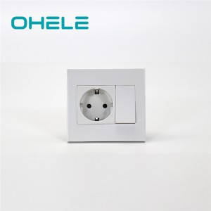 2020 New Style Outlet Wall Plug - 1 Gang Switch + 1 Gang German(EU) Socket – Ohom