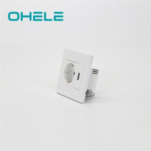 China Manufacturer for Two Pin Wall Socket - 1 Gang German(EU) Socket+1 Gang USB – Ohom