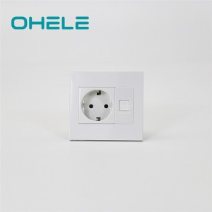 Discount Price Wall Outlet With Usb Ports - 1 Gang German(EU) Socket+1 Gang Telephone Port – Ohom