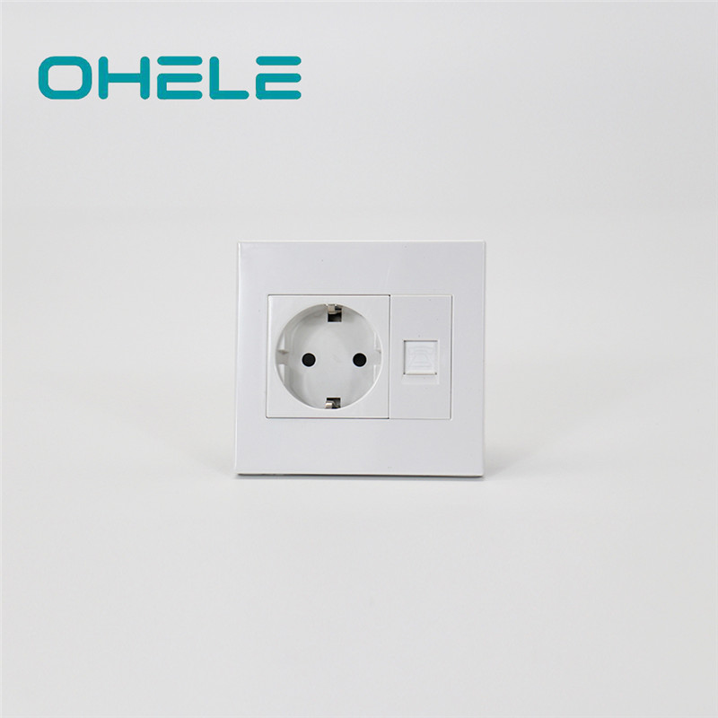 Rapid Delivery for Wall Mount Power Outlet - 1 Gang German(EU) Socket+1 Gang Telephone Port – Ohom