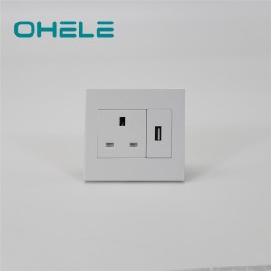 Manufactur standard In Wall Power Outlet - 1 Gang UK Socket+1 Gang USB – Ohom