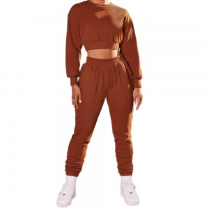 Women long sleeve crop top sportswear sets 100% cotton two piece pants set