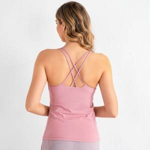 Nylon Spandex Elastic Womens Gym Fitness Workout Tank Tops Breathable Yoga Top