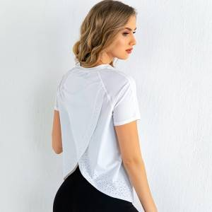 Plain Gym Back Slit Top Custom Nylon Spandex Short Sleeve Women Yoga T shirt