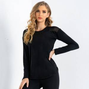 Women's Splicing Mesh Sports Top Yoga Fitness Clothes Running Tops Gym Workout Long Sleeve