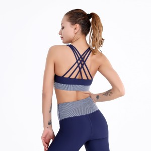 New fashion stylish Sexy strappy yoga wear custom sports bra logo gym wear fitness