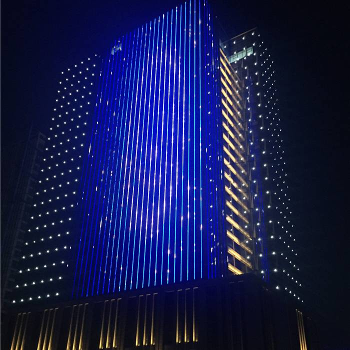 Color Changing building facade lighting