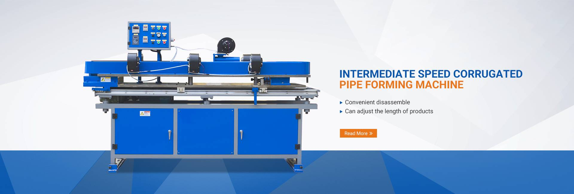 Intermediate speed corrugated pipe forming machine