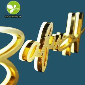 Custom Led CNC Cutting Gold Stainless Steel Backlit Letter Sign 3D Decorative Alphabet