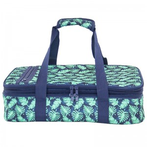 Polyester extensible casserole carrier bag with fashion printing