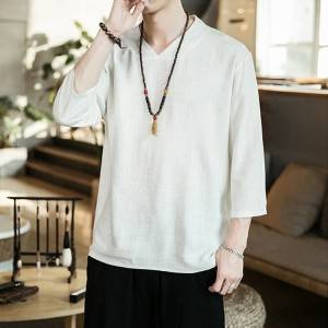 Cotton And Linen Retro V-Neck Long Sleeve Men T-Shirt PY-NC001