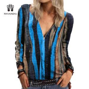 European and American women's tie-dye stripe printing long-sleeved T-shirt V-neck zipper top T-Shirts   PY-CT006