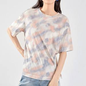 Casual sports tie-dye printed round neck loose women's T-shirt
