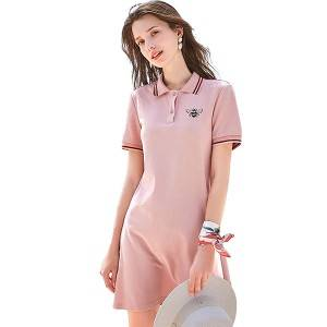 Summer 2021 new Short-sleeved mid-length Embroidery Polo T-shirt skirt   PY-PL002