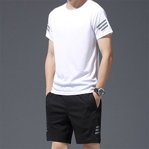 Summer quick-drying short-sleeved men's sportswear breathable plus size sports suit wholesale
