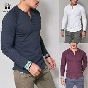 New men's clothing for autumn and winter Pure color workout clothes Slim men's Long sleeve T-shirt   PY-NC006