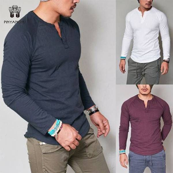 New men's clothing for autumn and winter Pure color workout clothes Slim men's Long sleeve T-shirt   PY-NC006 Featured Image